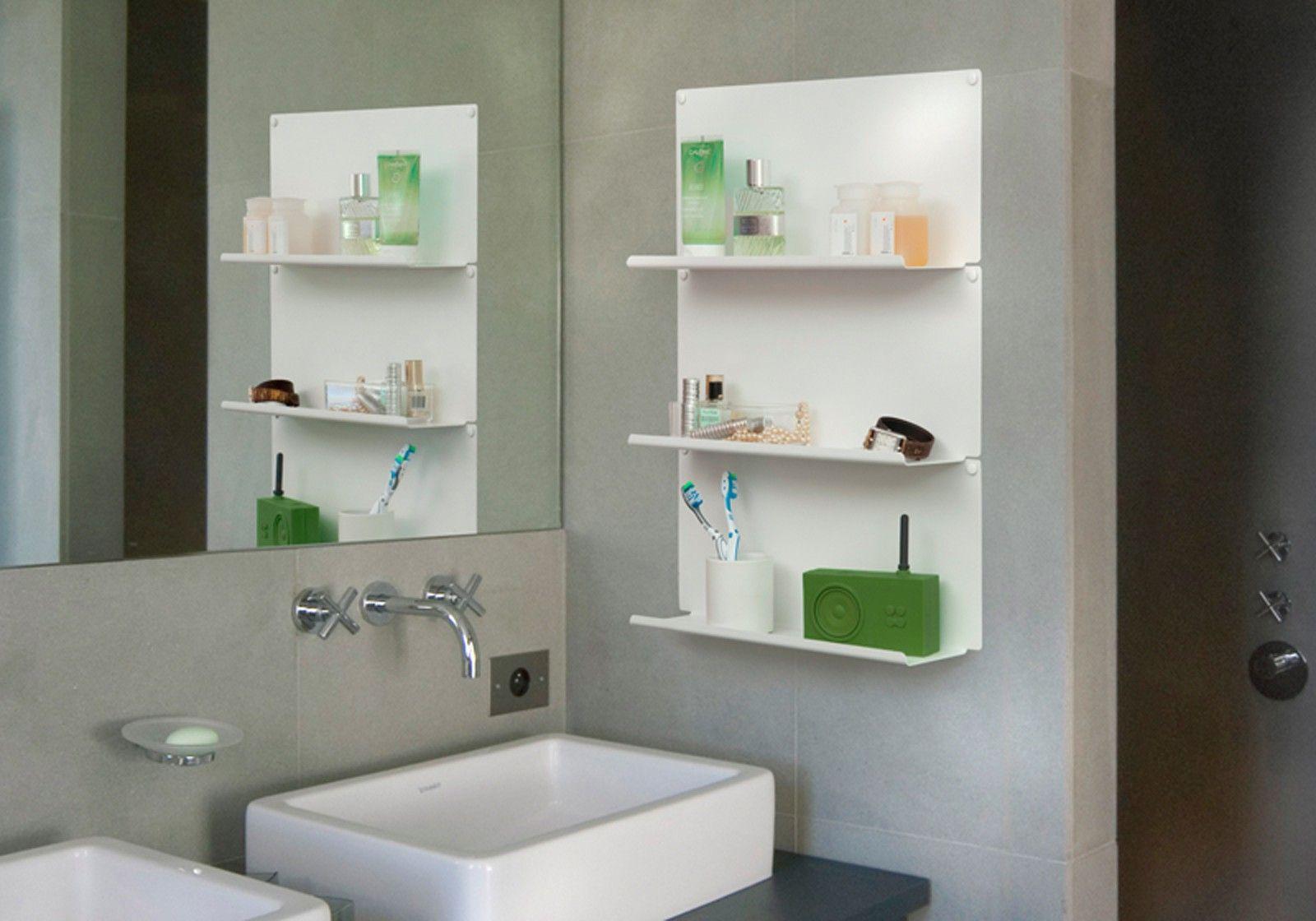 Mensole per bagno le set di 2 10 cm acciao bianco - Mensole angolari bagno ...