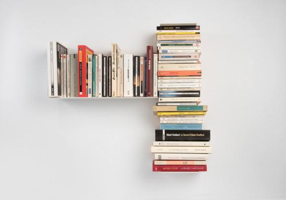 """Asymmetrisches Bücherregal """"T"""" LINKS - 60x60 cm - Stahl"""
