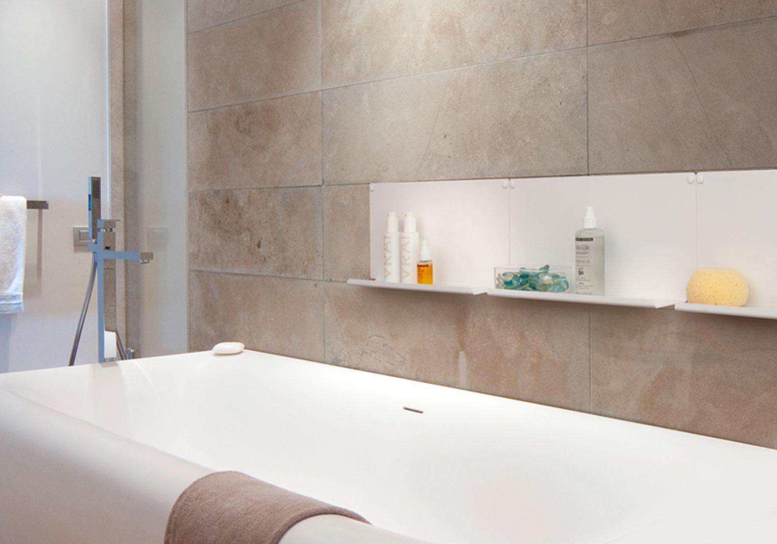Tag re pour salle de bain le lot de 2 45 x10 cm acier blanc - Etagere salle de bain blanc ...