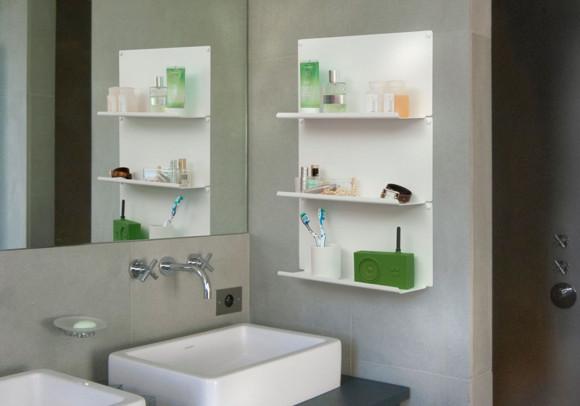 """Étagère pour salle de bain """"LE"""" - Lot de 4 - 45 x10 cm - Acier - Blanc"""
