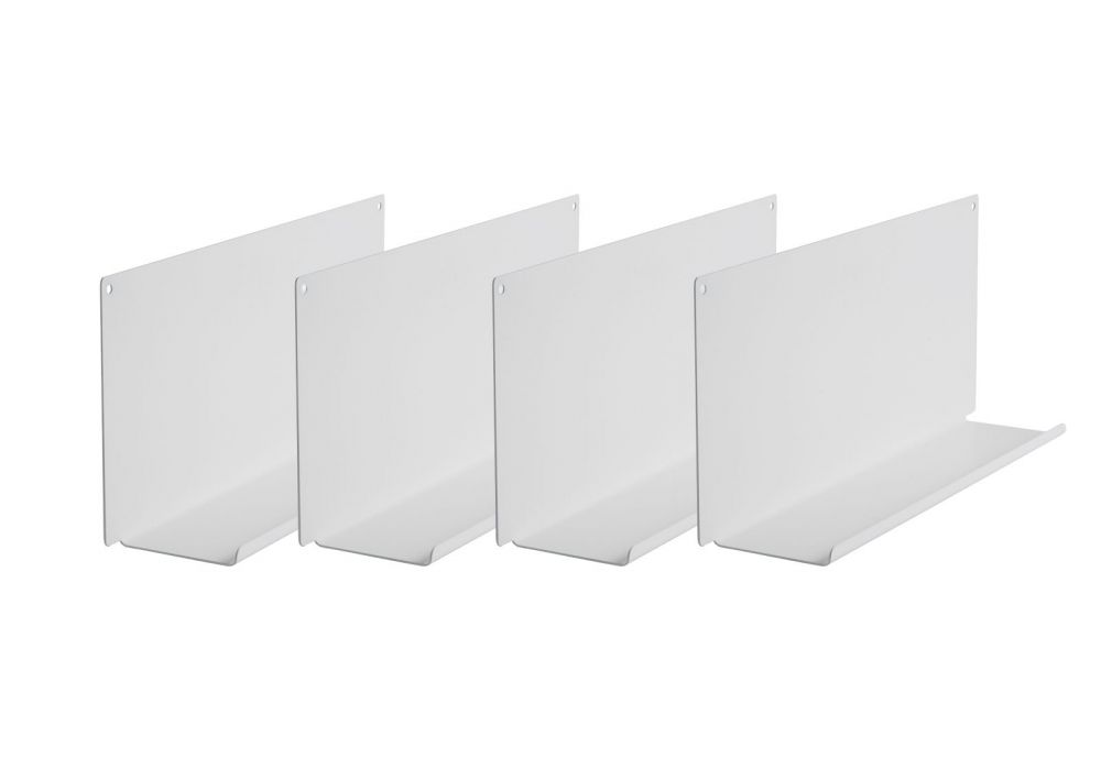 Tag re cadres photo le lot de 2 45x10 cm blanc acier for Etagere porte cadre photo