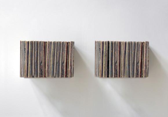 """Étagère de rangement pour vinyles """"UBD""""  - Lot de 2 - 120 vinyles - Acier"""