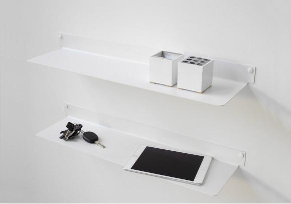 Étagère murale design - blanc, invisible et en métal L60 cm par 2