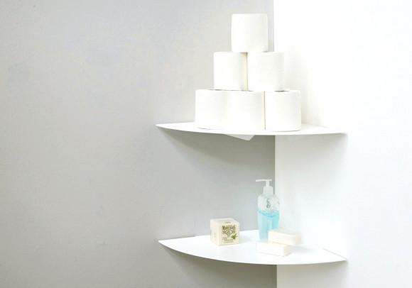 Étagère d'angles pour salle de bain TEEgolo - 36 cm - Lot de 2 - Acier
