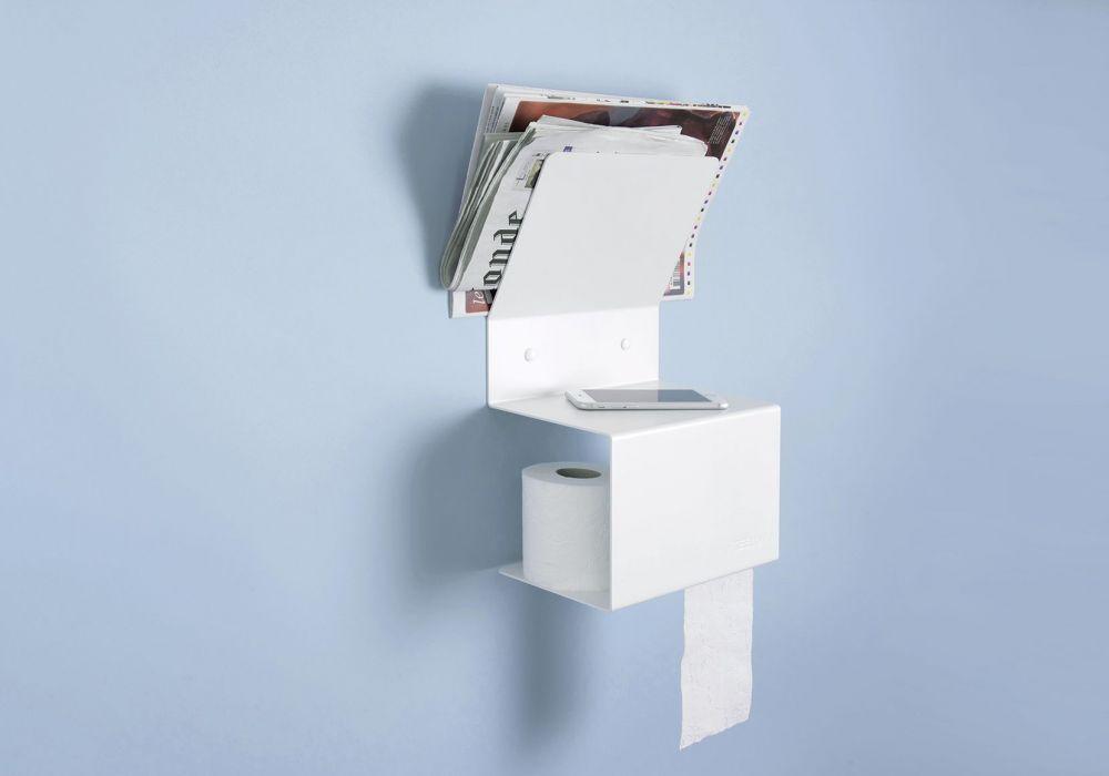 Porta Carta Igienica Acciaio.Porta Carta Igienica Teelette Acciao Bianco 37 5x15x22cm