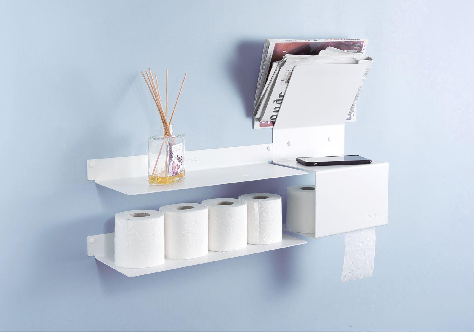 porte papier toilette 37 5x15x22 acier blanc. Black Bedroom Furniture Sets. Home Design Ideas
