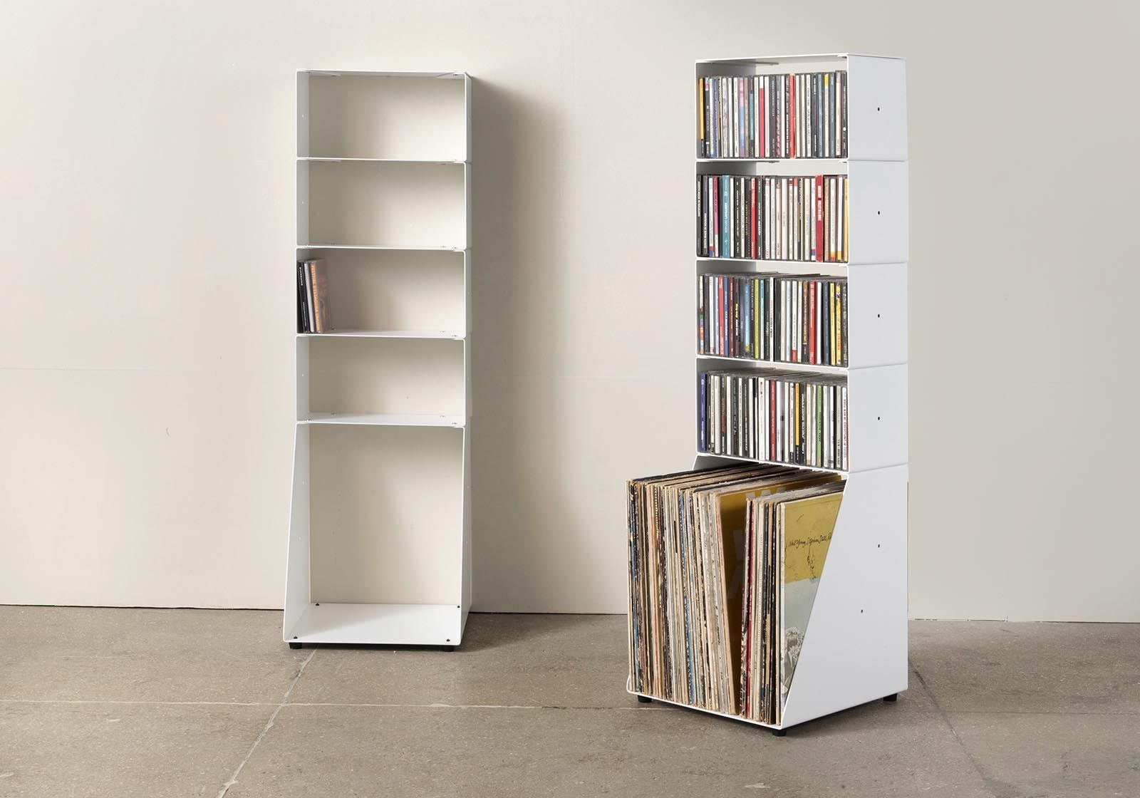 range cd et vinyle 30 cm m tal blanc 5 niveaux. Black Bedroom Furniture Sets. Home Design Ideas