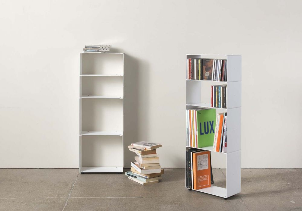 the best attitude 59317 35e59 White Bookcase for Books and Cds W30 H80 D15 cm - 4 shelves