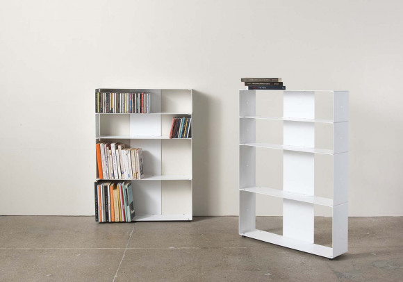 White Bookcase for Books and Cds W60 H80 D15 cm - 4 shelves