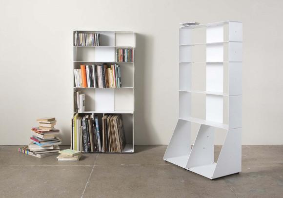 Bibliothèque design 60 cm (livre, cd, vinyle) - 5 niveaux