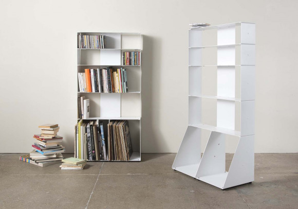 White Bookcase for Books, Cds and Vinyls W60 H115 D32 cm - 5 shelves