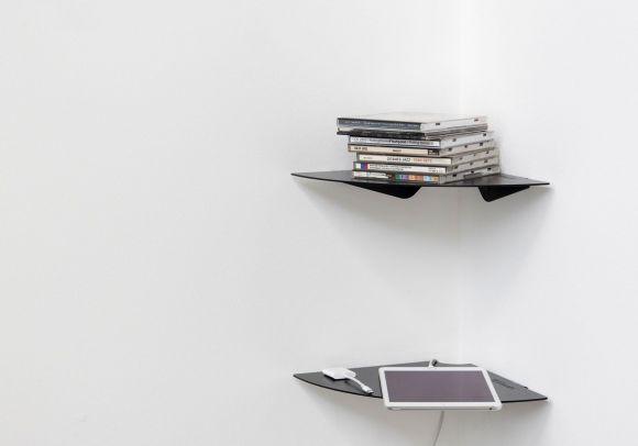 estante esquinero TEEgolo 24cm - Juego de 2 estantes - Acero negro