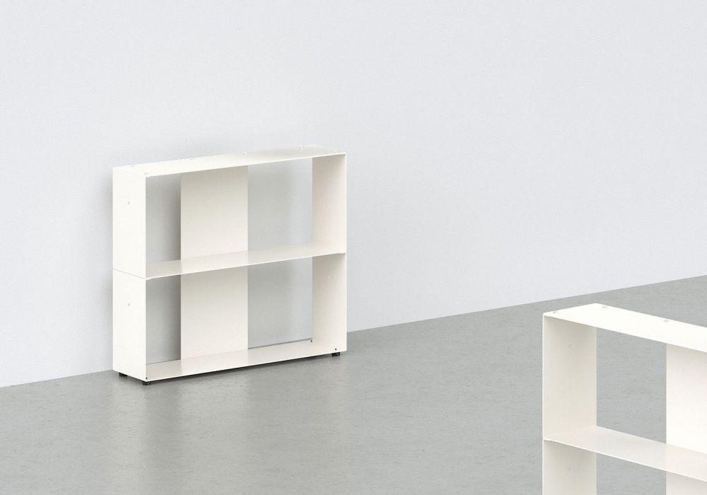 Bibliothèque basse - métal blanc L60 H50 P15 cm - 2 niveaux