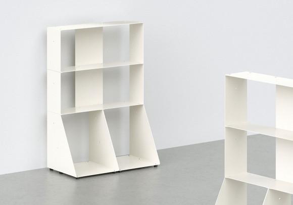 Bibliothèque basse 60 cm - métal blanc - 3 niveaux