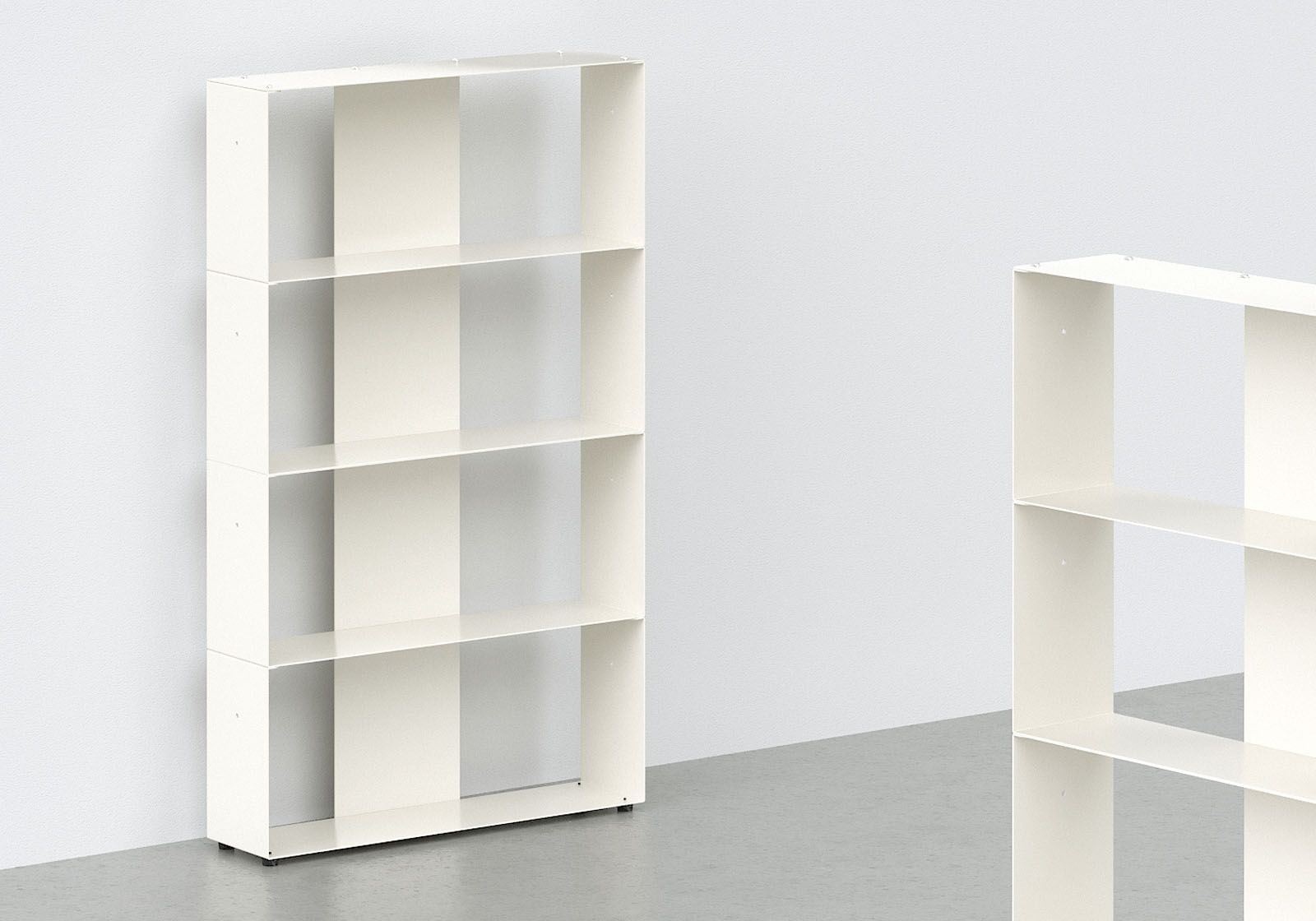meuble biblioth que design 60 cm m tal blanc 4 niveaux. Black Bedroom Furniture Sets. Home Design Ideas