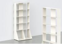 Meuble Bibliothèque - métal blanc L60 H135 P32 cm - 5 niveaux