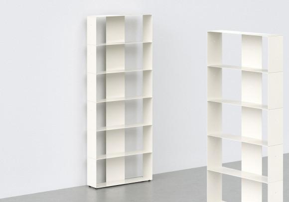 Meuble bibliothèque design 60 cm - metal blanc - 6 niveaux