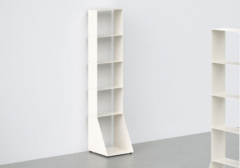 Meuble Bibliothèque - métal blanc L30 H135 P32 cm - 5 niveaux