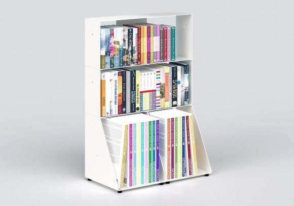 Estanterias librerias 60 cm - metal blanco - 3 niveles