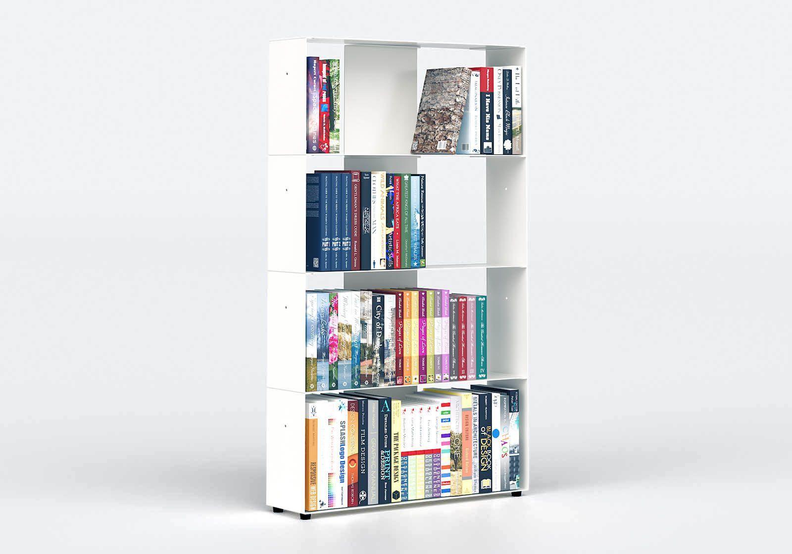 White Bookcase W60 H100 D15 cm - 4 shelves