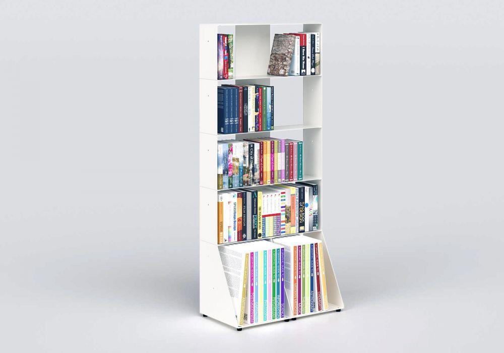 Bibliothèque blanche design 60 cm - métal - 5 niveaux