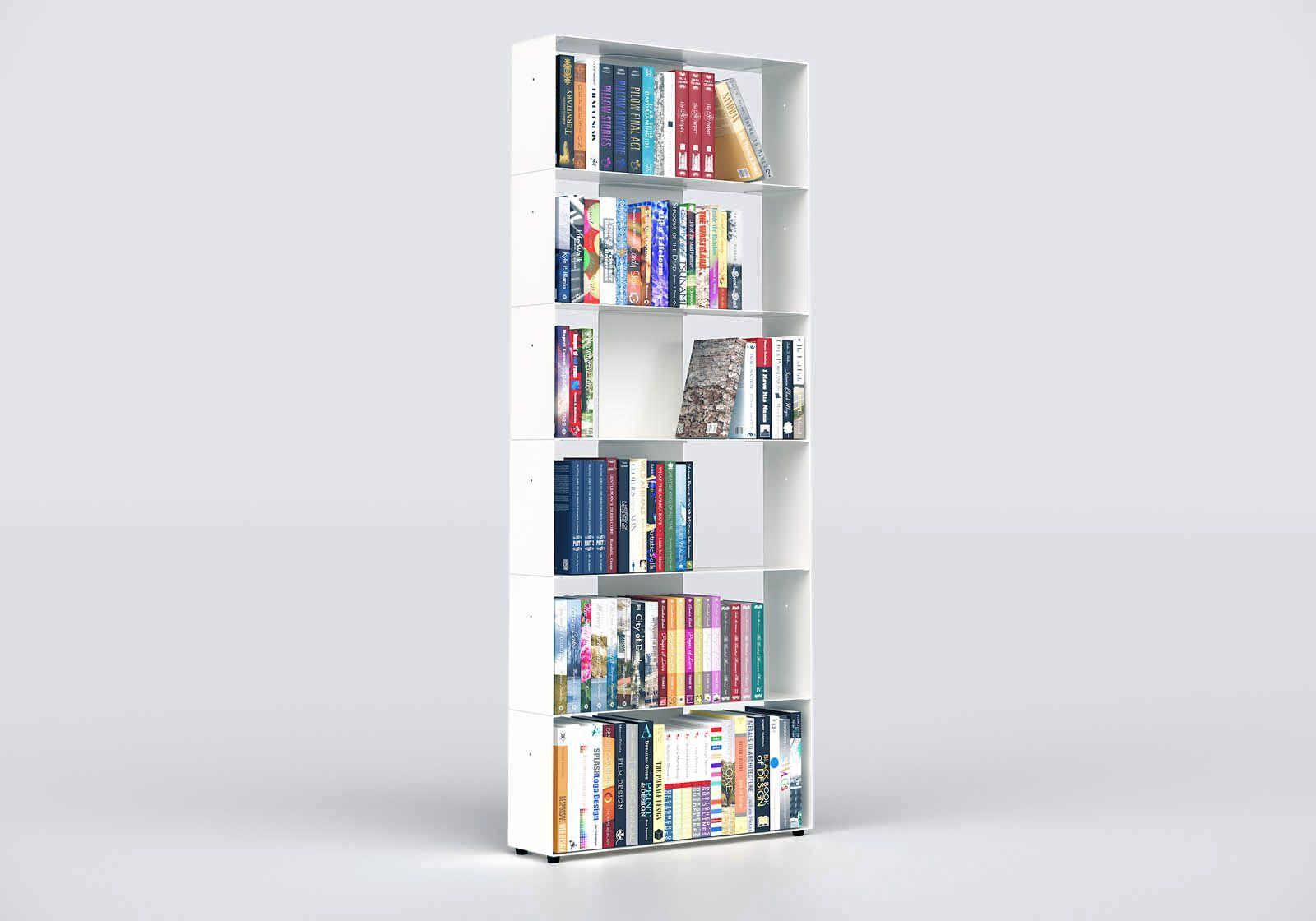 Tall bookcase white W60 H150 D15 cm - 6 shelves