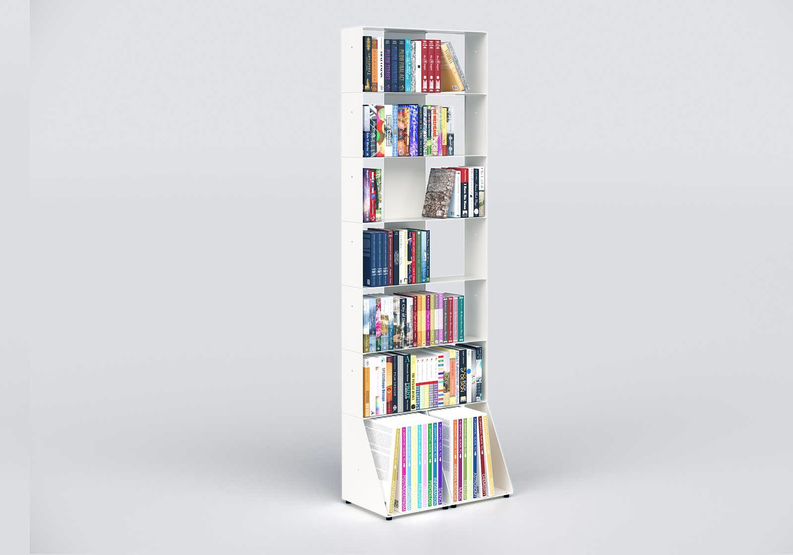 Tall bookcase white W60 H185 D32 cm 7 shelves