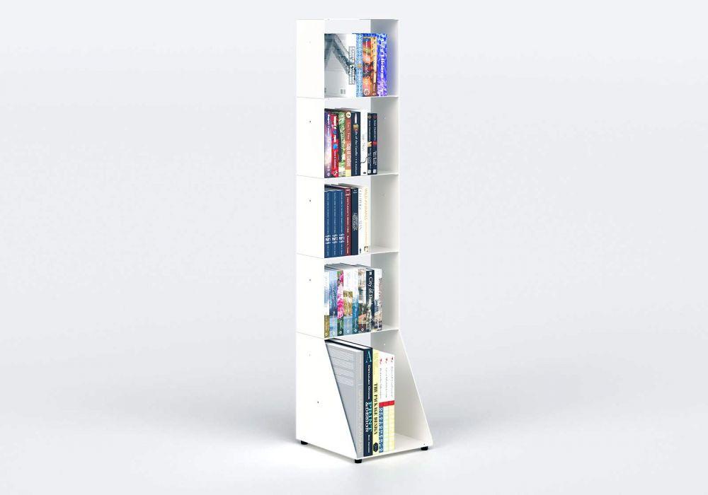 Bücherregal weiß 5 ablagen B30 H135 T15 cm