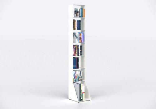 Bibliothèque colonne 30 cm - métal blanc - 7 niveaux