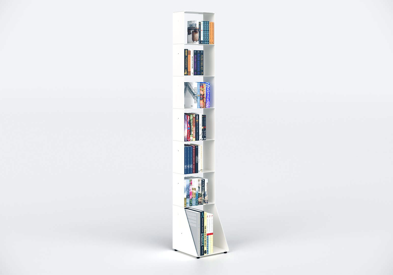 Bücherregal weiß 7 ablagen B30 H185 T15 cm
