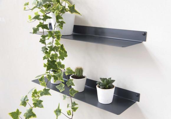 Étagère murale pour plantes L60 cm - Lot de 2