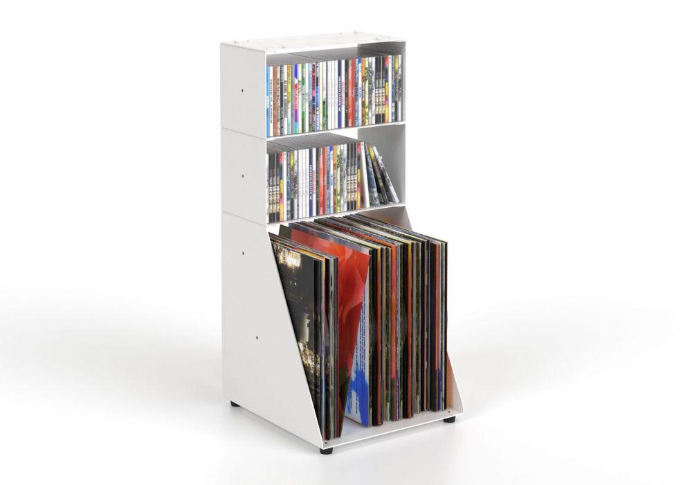 Range cd & vinyle 30 cm - métal blanc - 3 niveaux