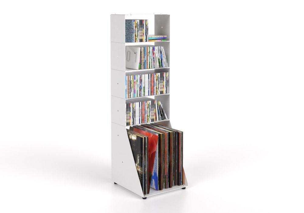 Range cd et vinyle 30 cm - métal blanc - 5 niveaux