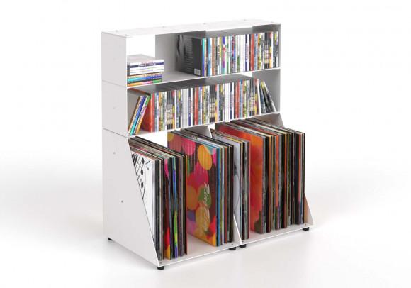 Range cd et vinyle 60 cm - métal blanc - 3 niveaux