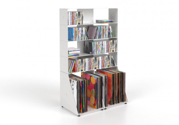 Range cd et vinyle 60 cm - métal blanc - 5 niveaux