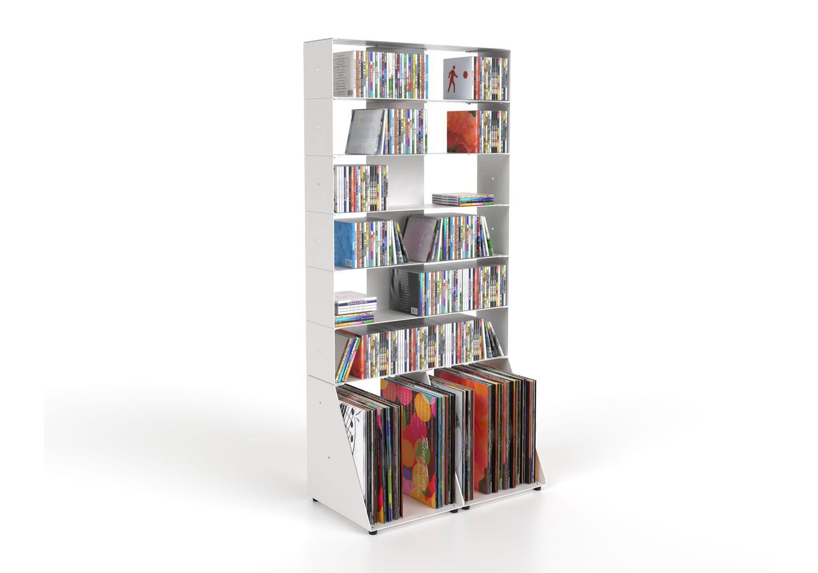 CD & vinyl storage W60 H125 D32 cm - 7 shelves