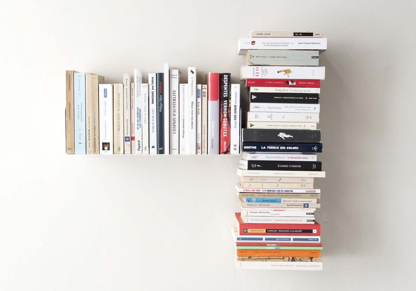 "Mensola per libri ""T"" asimmetrica SINISTRA - 60x60 cm - Acciaio"