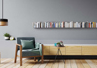 Modern industrial style bookcase for the living room